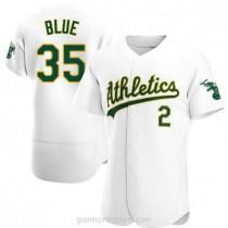 Mens Vida Blue Oakland Athletics #35 Authentic Blue White Home A592 Jerseys