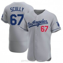 Mens Vin Scully Los Angeles Dodgers #67 Authentic Gray Away Official A592 Jersey