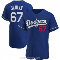 Mens Vin Scully Los Angeles Dodgers #67 Authentic Royal Alternate A592 Jerseys