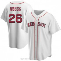 Mens Wade Boggs Boston Red Sox #26 Replica White Home A592 Jerseys