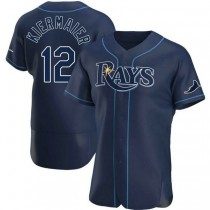 Mens Wade Boggs Tampa Bay Rays #12 Authentic Navy Alternate A592 Jerseys