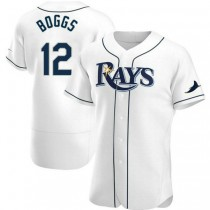 Mens Wade Boggs Tampa Bay Rays #12 Authentic White Home A592 Jersey