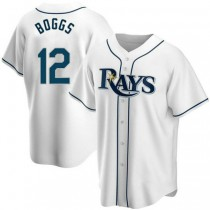 Mens Wade Boggs Tampa Bay Rays #12 Replica White Home A592 Jersey