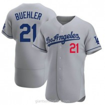 Mens Walker Buehler Los Angeles Dodgers #21 Authentic Gray Away Official A592 Jersey