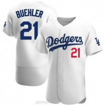 Mens Walker Buehler Los Angeles Dodgers #21 Authentic White Home Official A592 Jersey