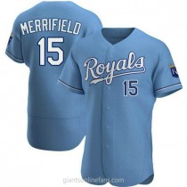 Mens Whit Merrifield Kansas City Royals #15 Authentic Light Blue Alternate A592 Jerseys