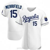 Mens Whit Merrifield Kansas City Royals #15 Authentic White Home A592 Jersey