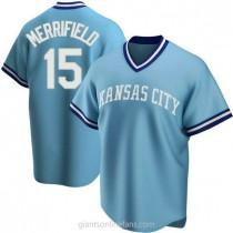 Mens Whit Merrifield Kansas City Royals #15 Replica Light Blue Road Cooperstown Collection A592 Jersey