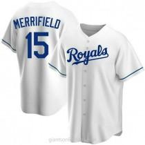 Mens Whit Merrifield Kansas City Royals #15 Replica White Home A592 Jersey