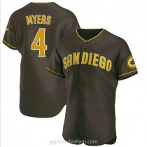 Mens Wil Myers San Diego Padres #4 Authentic Brown Road A592 Jersey