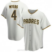 Mens Wil Myers San Diego Padres #4 Replica White Brown Home A592 Jersey