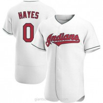 Mens Willie Mays Hayes Cleveland Indians 0 Authentic White Home A592 Jerseys