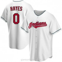 Mens Willie Mays Hayes Cleveland Indians 0 Replica White Home A592 Jerseys