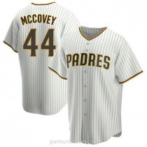 Mens Willie Mccovey San Diego Padres #44 Replica White Brown Home A592 Jersey