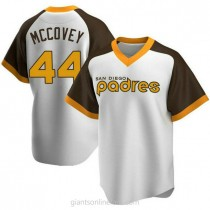 Mens Willie Mccovey San Diego Padres #44 Replica White Home Cooperstown Collection A592 Jersey