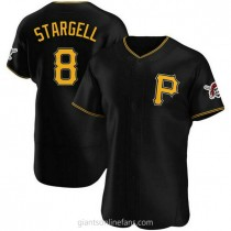 Mens Willie Stargell Pittsburgh Pirates #8 Authentic Black Alternate A592 Jerseys