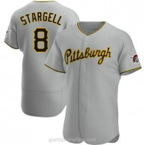 Mens Willie Stargell Pittsburgh Pirates #8 Authentic Gray Road A592 Jerseys