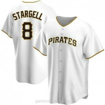 Mens Willie Stargell Pittsburgh Pirates #8 Replica White Home A592 Jersey