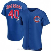Mens Willson Contreras Chicago Cubs #40 Authentic Royal Alternate A592 Jerseys
