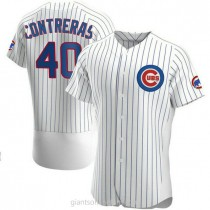 Mens Willson Contreras Chicago Cubs #40 Authentic White Home A592 Jersey