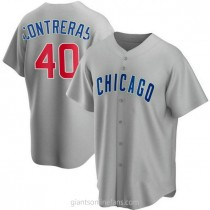 Mens Willson Contreras Chicago Cubs #40 Replica Gray Road A592 Jerseys