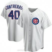 Mens Willson Contreras Chicago Cubs #40 Replica White Home A592 Jerseys