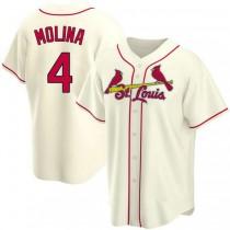 Mens Yadier Molina St Louis Cardinals #4 Cream Alternate A592 Jersey Replica