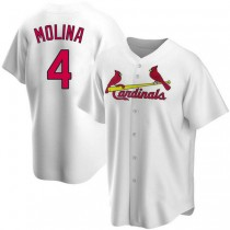 Mens Yadier Molina St Louis Cardinals #4 White Home A592 Jersey Replica