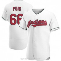 Mens Yasiel Puig Cleveland Indians #66 Authentic White Home A592 Jersey