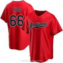 Mens Yasiel Puig Cleveland Indians #66 Replica Red Alternate A592 Jersey