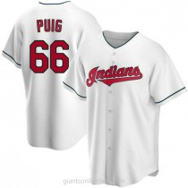 Mens Yasiel Puig Cleveland Indians Replica White Home A592 Jersey