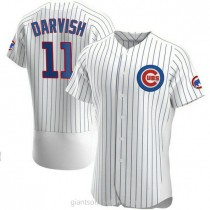 Mens Yu Darvish Chicago Cubs #11 Authentic White Home A592 Jerseys