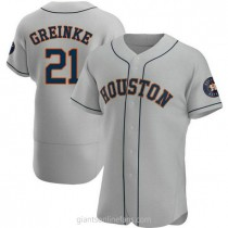 Mens Zack Greinke Houston Astros #21 Authentic Gray Road A592 Jersey