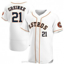 Mens Zack Greinke Houston Astros #21 Authentic White Home A592 Jersey