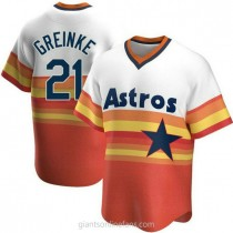 Mens Zack Greinke Houston Astros #21 Replica White Home Cooperstown Collection A592 Jerseys
