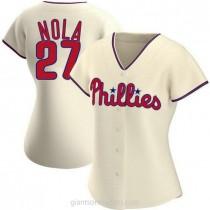 Womens Aaron Nola Philadelphia Phillies #27 Replica Cream Alternate A592 Jerseys