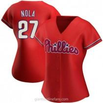 Womens Aaron Nola Philadelphia Phillies #27 Replica Red Alternate A592 Jersey