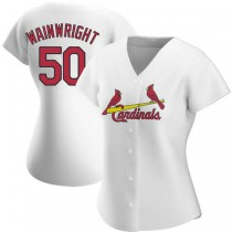 Womens Adam Wainwright St Louis Cardinals #50 White Home A592 Jersey Authentic