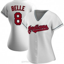 Womens Albert Belle Cleveland Indians #8 Authentic White Home A592 Jersey