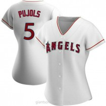 Womens Albert Pujols Los Angeles Angels Of Anaheim #5 Authentic White Home A592 Jersey