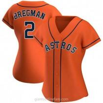 Womens Alex Bregman Houston Astros #2 Authentic Orange Alternate A592 Jerseys
