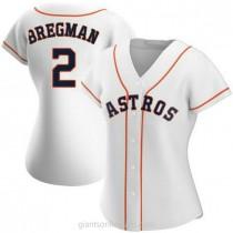 Womens Alex Bregman Houston Astros #2 Authentic White Home A592 Jersey
