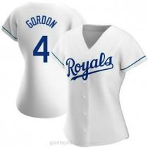 Womens Alex Gordon Kansas City Royals #4 Replica White Home A592 Jersey