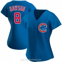 Womens Andre Dawson Chicago Cubs #8 Authentic Royal Alternate A592 Jerseys