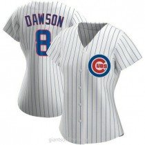 Womens Andre Dawson Chicago Cubs #8 Replica White Home A592 Jersey