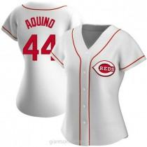 Womens Aristides Aquino Cincinnati Reds #44 Replica White Home A592 Jersey