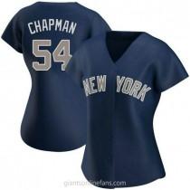Womens Aroldis Chapman New York Yankees #54 Authentic Navy Alternate A592 Jersey