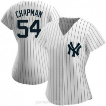 Womens Aroldis Chapman New York Yankees #54 Authentic White Home Name A592 Jersey