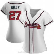 Womens Austin Riley Atlanta Braves #27 Authentic White Home A592 Jersey