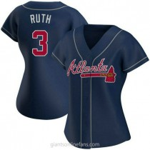 Womens Babe Ruth Atlanta Braves #3 Authentic Navy Alternate A592 Jersey